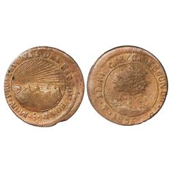 Tegucigalpa, Honduras, copper 4 reales (provisional), 1856G, NGC XF 40 BN, finest and only example i