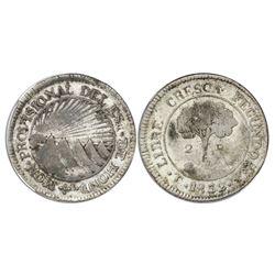 Tegucigalpa, Honduras, low silver 2 reales (provisional), 1832F, NGC VF 25.