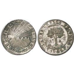 Tegucigalpa, Honduras, low silver 2 reales, 1844F, CREZCA variety, NGC XF 40.