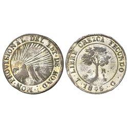 Tegucigalpa, Honduras, low silver 2 reales, 1845G, NGC AU 50.