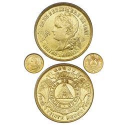 Honduras, gold 20 pesos, 1888, very rare, NGC AU 58.