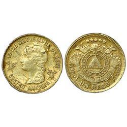 Honduras, gold 1 peso, 1902, NGC UNC details / obv cleaned.