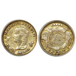 Honduras, gold 1 peso, 1919, NGC AU 50.