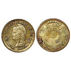 Honduras, gold 1 peso, 1922, NGC AU 58.