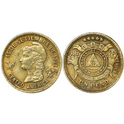 Honduras, gold 1 peso, undated issue (1922-25) NGC AU 55.