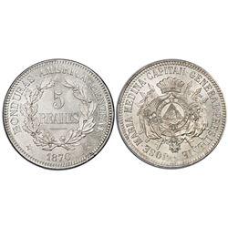 Honduras, copper-nickel pattern 5 reales, 1870, PCGS SP64.
