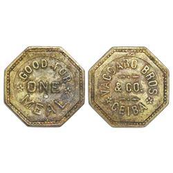La Ceiba, Honduras, octagonal bronze token, Vaccaro Bros. & Co. (1906-1924), good for one meal, very