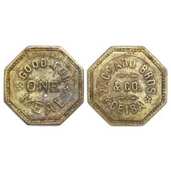 La Ceiba, Honduras, octagonal bronze token, Vaccaro Bros. & Co. (1906-1924), good for one meal, very