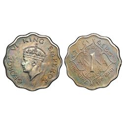 Calcutta, India (British), copper-nickel original proof 1 anna, George VI, 1946-C, short trefoils, P
