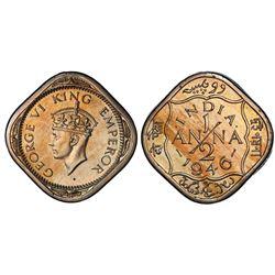 Calcutta, India (British), copper-nickel original proof 1/2 anna, George VI, 1946-C, PCGS PR64, with