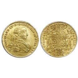 Naples and Sicily (Italian States), gold 6 ducati, Ferdinand IV, 1767DeG-CCR, PCGS MS64.
