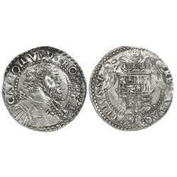 Naples & Sicily (Italian States), 1/2 ducato, Charles V (1516-54), IBR monogram to left of bust.
