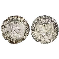 Naples & Sicily (Italian States), 1 tari, Charles V (1516-54), R monogram to left of bust.
