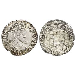 Naples & Sicily (Italian States), 1 tari, Charles V (1516-54), R monogram to left of bust.