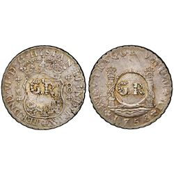 "Jamaica (British administration), 6 shillings 8 pence, ""GR"" double countermark (1758) on a Lima, Per"