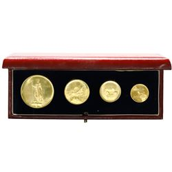Malta, four-coin set of gold 50, 20, 10 and 5 Maltese pounds, 1972, in original box of issue.
