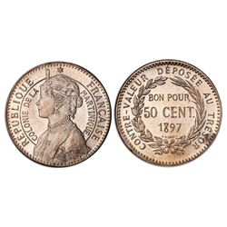 Martinique (under France), piefort copper-nickel essai 50 centimes, 1897, PCGS SP64.