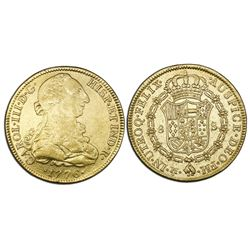 Mexico City, Mexico, bust gold 8 escudos, Charles III, 1776FM.