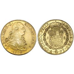 Mexico City, Mexico, bust gold 8 escudos, Charles IV, 1802FT.