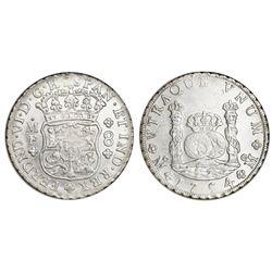 Mexico City, Mexico, pillar 8 reales, Ferdinand VI, 1754MF, crowns alike, NGC MS 62.