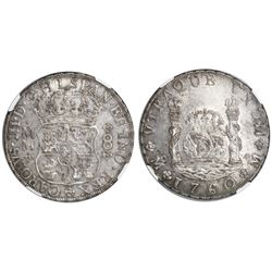 Mexico City, Mexico, pillar 8 reales, Charles III, 1760MM, NGC AU 55.
