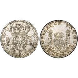 Mexico City, Mexico, pillar 8 reales, Charles III, 1762MM, cross between H and I.