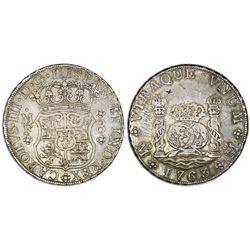 Mexico City, Mexico, pillar 8 reales, Charles III, 1763MF.
