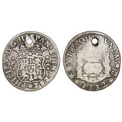 Mexico City, Mexico, pillar 2 reales, Philip V, 1732F, rare.