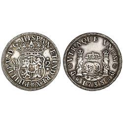 Mexico City, Mexico, pillar 2 reales, Philip V, 1733MF, pellet above and below assayer, cinquefoils