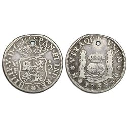 Mexico City, Mexico, pillar 2 reales, Philip V, 1733MF, pellet above and below assayer, cinquefoils