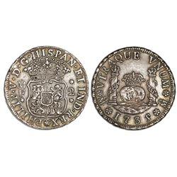 Mexico City, Mexico, pillar 2 reales, Philip V, 1735/4/3MF.