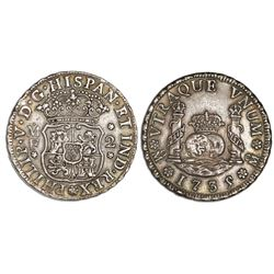 Mexico City, Mexico, pillar 2 reales, Philip V, 1735/4/3MF.