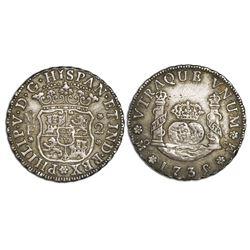 Mexico City, Mexico, pillar 2 reales, Philip V, 1735/5/?MF.