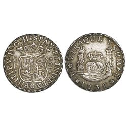 Mexico City, Mexico, pillar 2 reales, Philip V, 1735/5/?MF.