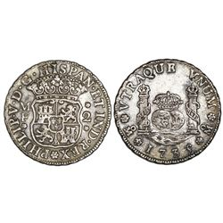 Mexico City, Mexico, pillar 2 reales, Philip V, 1735/4MF.