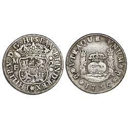 Mexico City, Mexico, pillar 2 reales, Philip V, 1736/5MF, no ornament below MF, extremely rare.