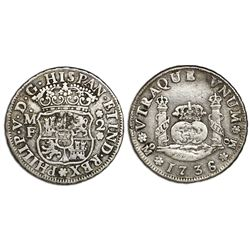 Mexico City, Mexico, pillar 2 reales, Philip V, 1736/5MF, no ornament below MF, extremely rare.