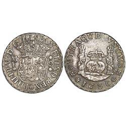 Mexico City, Mexico, pillar 2 reales, Philip V, 1736MF.