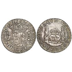 Mexico City, Mexico, pillar 2 reales, Philip V, 1736MF.