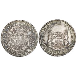 Mexico City, Mexico, pillar 2 reales, Philip V, 1739MF.