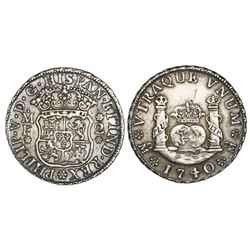 Mexico City, Mexico, pillar 2 reales, Philip V, 1740/30MF.
