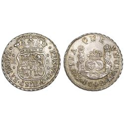 Mexico City, Mexico, pillar 2 reales, Philip V, 1742M.