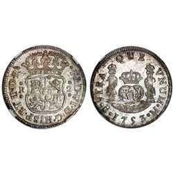 Mexico City, Mexico, pillar 2 reales, Ferdinand VI, 1753M, NGC MS 61.