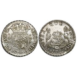 Mexico City, Mexico, pillar 2 reales, Ferdinand VI, 1759M, cinquefoil ornaments on shield side, cros