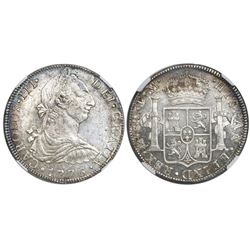 Mexico City, Mexico, bust 8 reales, Charles III, 1776FM, NGC AU 58.