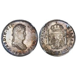 Mexico City, Mexico, bust 2 reales, Ferdinand VII, 1821JJ, NGC MS 64.