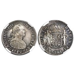Mexico City, Mexico, bust 1 real, Charles IV, 1807/6TH, NGC MS 62, finest known in NGC census.