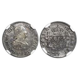 Mexico City, Mexico, bust 1/2 real, Charles IV, 1806TH, NGC MS 62.