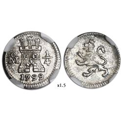 Mexico City, Mexico, 1/4 real, 1799/8, NGC MS 64.