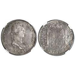 Guadalajara, Mexico, bust 8 reales, Ferdinand VII, 1821FS, NGC AU 55.